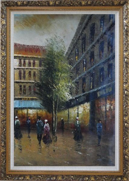 Framed Parisian Street Scene At Dusk Oil Painting Cityscape France Impressionism Ornate Antique Dark Gold Wood Frame 42 x 30 Inches