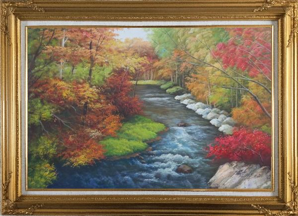Framed A Creek Passing Through Beautiful Autumn Forest Oil Painting Landscape River Naturalism Gold Wood Frame with Deco Corners 31 x 43 Inches