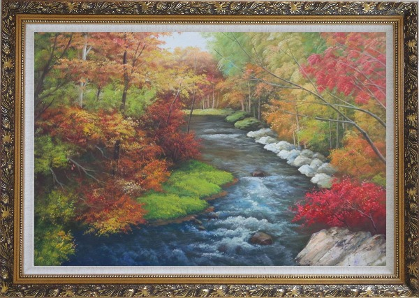 Framed A Creek Passing Through Beautiful Autumn Forest Oil Painting Landscape River Naturalism Ornate Antique Dark Gold Wood Frame 30 x 42 Inches