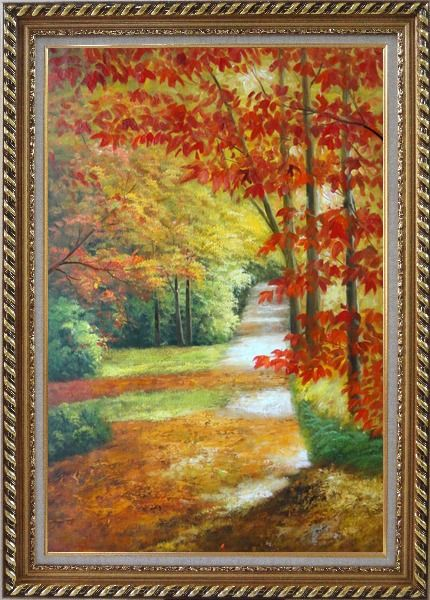 Framed A Peaceful Path Under Golden Autumn Trees Oil Painting Landscape Naturalism Exquisite Gold Wood Frame 42 x 30 Inches