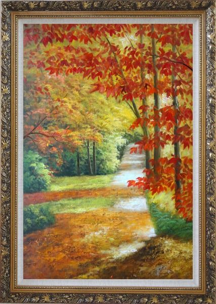 Framed A Peaceful Path Under Golden Autumn Trees Oil Painting Landscape Naturalism Ornate Antique Dark Gold Wood Frame 42 x 30 Inches