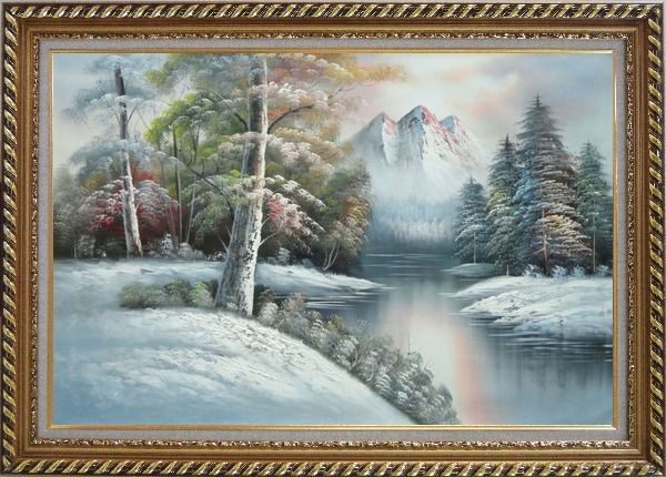 Framed Snow-Covered River and Mountain Scenery Oil Painting Landscape Winter Naturalism Exquisite Gold Wood Frame 30 x 42 Inches