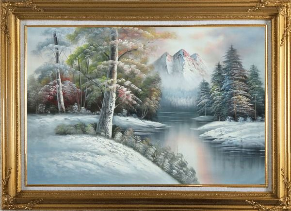 Framed Snow-Covered River and Mountain Scenery Oil Painting Landscape Winter Naturalism Gold Wood Frame with Deco Corners 31 x 43 Inches