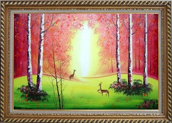 Framed Deer Play in Red and Yellow Site in Forest Oil Painting Animal Naturalism Exquisite Gold Wood Frame 30 x 42 Inches