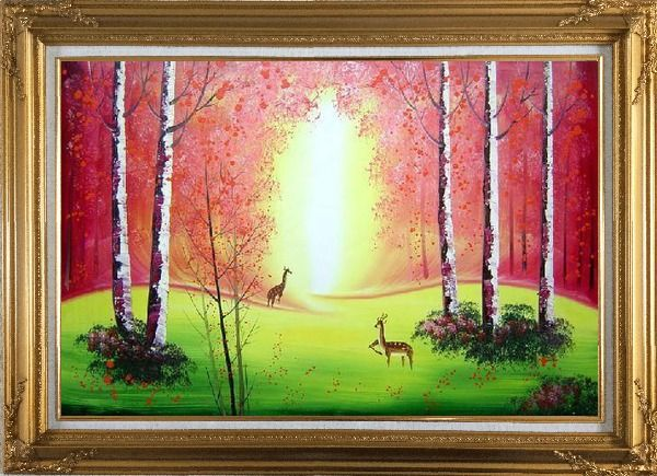 Framed Deer Play in Red and Yellow Site in Forest Oil Painting Animal Naturalism Gold Wood Frame with Deco Corners 31 x 43 Inches