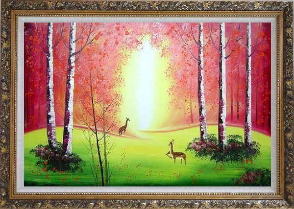 Framed Deer Play in Red and Yellow Site in Forest Oil Painting Animal Naturalism Ornate Antique Dark Gold Wood Frame 30 x 42 Inches