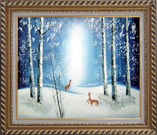 Framed Deer in Winter Snow Forest in Moonlight Oil Painting Animal Impressionism Exquisite Gold Wood Frame 26 x 30 Inches