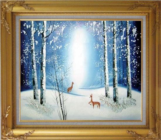 Framed Deer in Winter Snow Forest in Moonlight Oil Painting Animal Impressionism Gold Wood Frame with Deco Corners 27 x 31 Inches