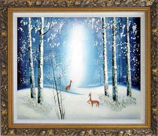 Framed Deer in Winter Snow Forest in Moonlight Oil Painting Animal Impressionism Ornate Antique Dark Gold Wood Frame 26 x 30 Inches