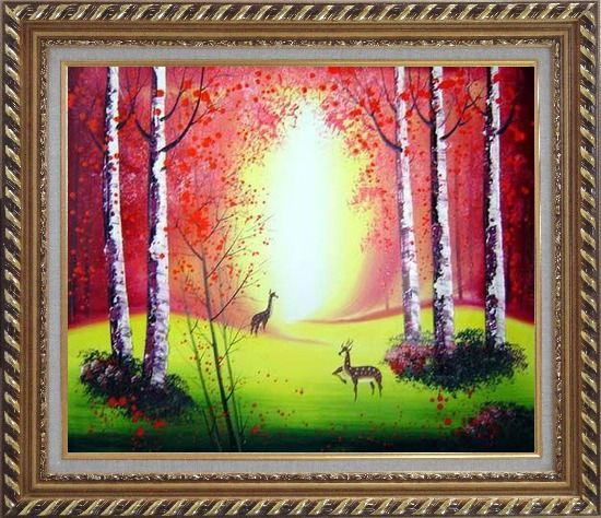 Framed Deer Playing in Red and Yellow Forest Oil Painting Animal Impressionism Exquisite Gold Wood Frame 26 x 30 Inches