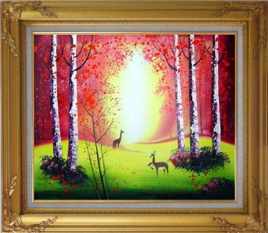 Framed Deer Playing in Red and Yellow Forest Oil Painting Animal Impressionism Gold Wood Frame with Deco Corners 27 x 31 Inches