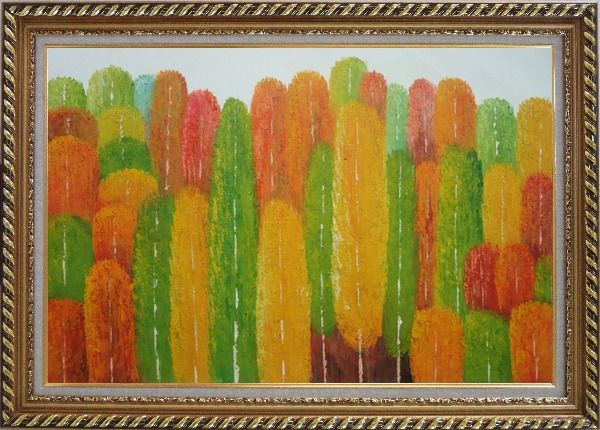Framed Yellow, Red and Green Aspen Forest Impression Oil Painting Landscape Tree Modern Exquisite Gold Wood Frame 30 x 42 Inches