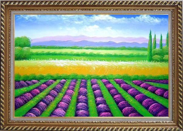 Framed Beautiful Countryside of Provence France Oil Painting Landscape Field Italy Decorative Exquisite Gold Wood Frame 30 x 42 Inches