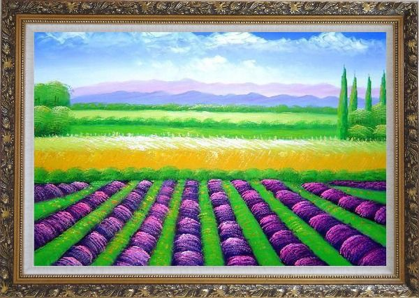 Framed Beautiful Countryside of Provence France Oil Painting Landscape Field Italy Decorative Ornate Antique Dark Gold Wood Frame 30 x 42 Inches