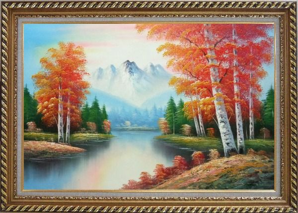 Framed Autumn Colors Along A Small River Oil Painting Landscape Tree Naturalism Exquisite Gold Wood Frame 30 x 42 Inches