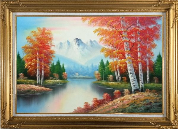 Framed Autumn Colors Along A Small River Oil Painting Landscape Tree Naturalism Gold Wood Frame with Deco Corners 31 x 43 Inches