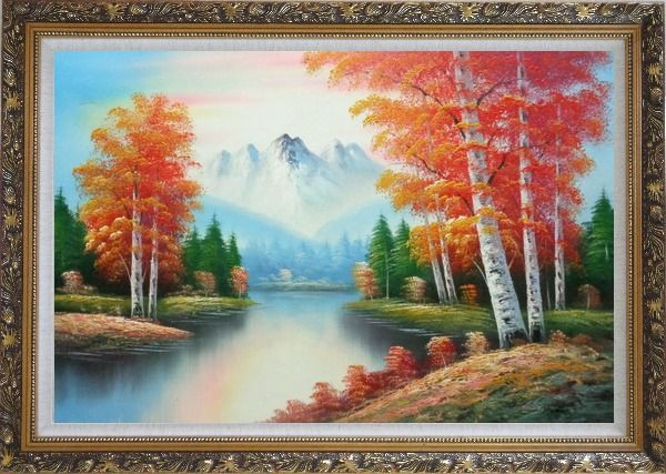 Framed Autumn Colors Along A Small River Oil Painting Landscape Tree Naturalism Ornate Antique Dark Gold Wood Frame 30 x 42 Inches