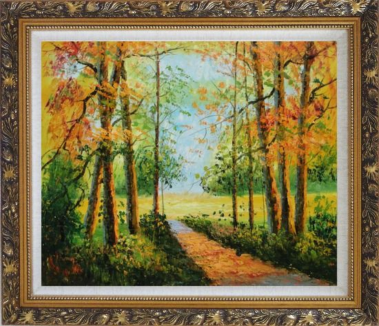 Framed A Peaceful Path in Colorful Fall Forest Oil Painting Landscape Tree Impressionism Ornate Antique Dark Gold Wood Frame 26 x 30 Inches