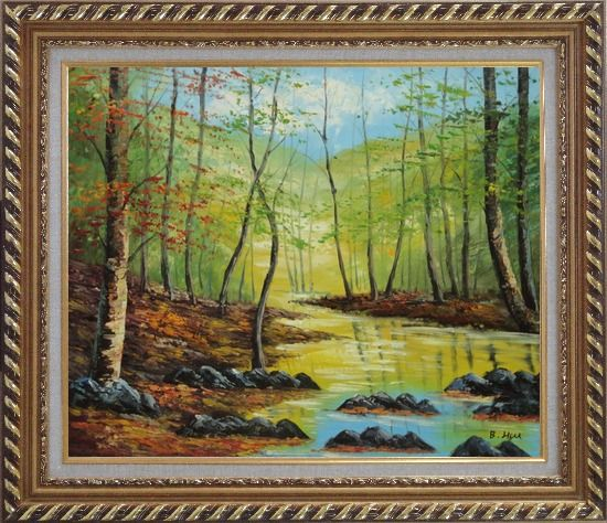 Framed Trees on a Swamp under Blue Sky Oil Painting Landscape Naturalism Exquisite Gold Wood Frame 26 x 30 Inches