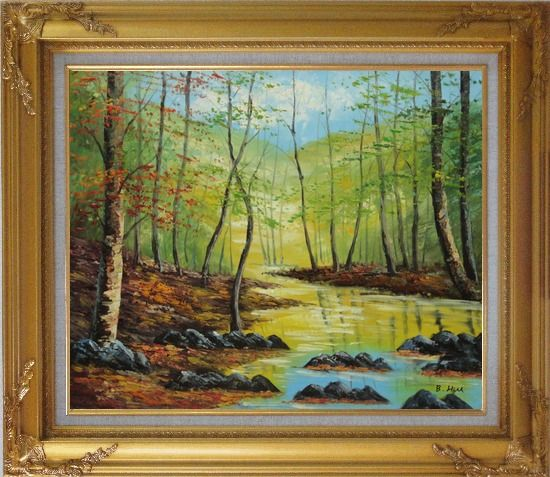 Framed Trees on a Swamp under Blue Sky Oil Painting Landscape Naturalism Gold Wood Frame with Deco Corners 27 x 31 Inches