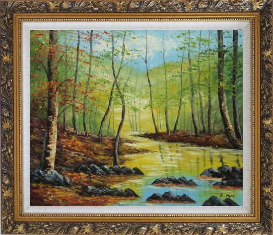 Framed Trees on a Swamp under Blue Sky Oil Painting Landscape Naturalism Ornate Antique Dark Gold Wood Frame 26 x 30 Inches