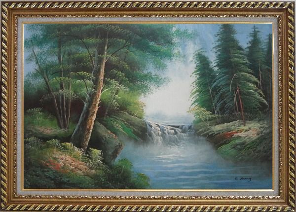 Framed Mountain Water Cascade in Early Spring Oil Painting Landscape River Naturalism Exquisite Gold Wood Frame 30 x 42 Inches