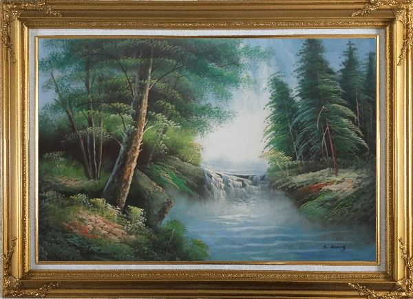 Framed Mountain Water Cascade in Early Spring Oil Painting Landscape River Naturalism Gold Wood Frame with Deco Corners 31 x 43 Inches