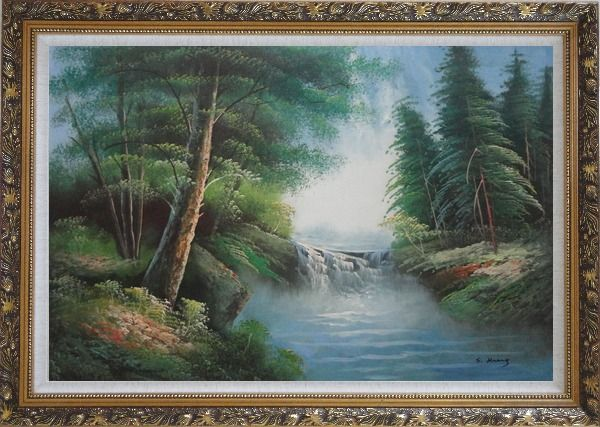 Framed Mountain Water Cascade in Early Spring Oil Painting Landscape River Naturalism Ornate Antique Dark Gold Wood Frame 30 x 42 Inches