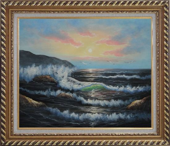 Framed Sea Waves, Sea Birds, Rocks On Sunset Oil Painting Seascape Naturalism Exquisite Gold Wood Frame 26 x 30 Inches