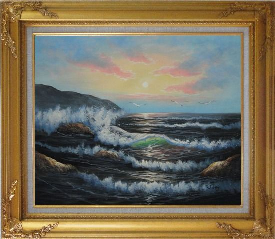 Framed Sea Waves, Sea Birds, Rocks On Sunset Oil Painting Seascape Naturalism Gold Wood Frame with Deco Corners 27 x 31 Inches