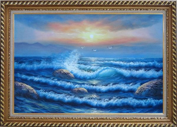 Framed Sea Waves, Sea Birds, Rocks on Sunset Oil Painting Seascape Naturalism Exquisite Gold Wood Frame 30 x 42 Inches