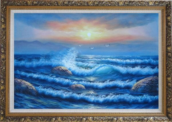 Framed Sea Waves, Sea Birds, Rocks on Sunset Oil Painting Seascape Naturalism Ornate Antique Dark Gold Wood Frame 30 x 42 Inches