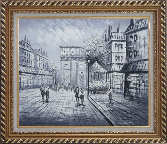Framed Black White Paris Arc de Triomphe Oil Painting Cityscape Impressionism Exquisite Gold Wood Frame 26 x 30 Inches