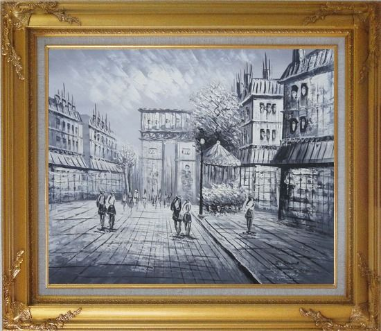 Framed Black White Paris Arc de Triomphe Oil Painting Cityscape Impressionism Gold Wood Frame with Deco Corners 27 x 31 Inches
