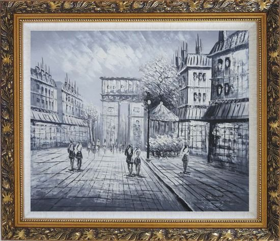 Framed Black White Paris Arc de Triomphe Oil Painting Cityscape Impressionism Ornate Antique Dark Gold Wood Frame 26 x 30 Inches