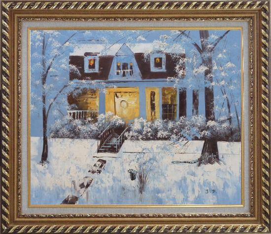 Framed Sweet Home in Winter Snow Christmas Oil Painting Village Naturalism Exquisite Gold Wood Frame 26 x 30 Inches