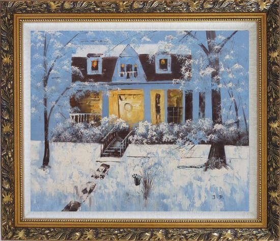 Framed Sweet Home in Winter Snow Christmas Oil Painting Village Naturalism Ornate Antique Dark Gold Wood Frame 26 x 30 Inches