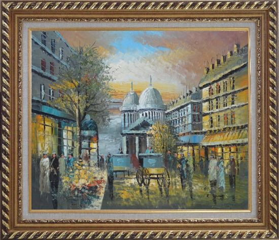 Framed People Walk on Paris Street at Evening in Nineteenth Century Oil Painting Cityscape France Impressionism Exquisite Gold Wood Frame 26 x 30 Inches