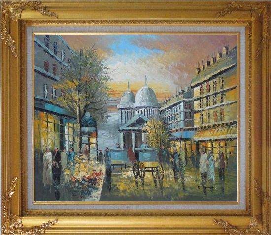 Framed People Walk on Paris Street at Evening in Nineteenth Century Oil Painting Cityscape France Impressionism Gold Wood Frame with Deco Corners 27 x 31 Inches