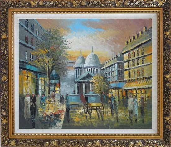 Framed People Walk on Paris Street at Evening in Nineteenth Century Oil Painting Cityscape France Impressionism Ornate Antique Dark Gold Wood Frame 26 x 30 Inches