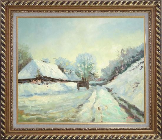 Framed The Carriage, the Road to Honfleur under Snow, Claude Monet Oil Painting Village France Impressionism Exquisite Gold Wood Frame 26 x 30 Inches