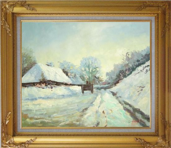 Framed The Carriage, the Road to Honfleur under Snow, Claude Monet Oil Painting Village France Impressionism Gold Wood Frame with Deco Corners 27 x 31 Inches