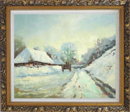 Framed The Carriage, the Road to Honfleur under Snow, Claude Monet Oil Painting Village France Impressionism Ornate Antique Dark Gold Wood Frame 26 x 30 Inches