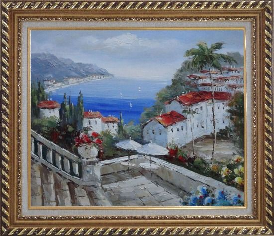 Framed Mediterranean Harbor Patio with Red Roof Houses Oil Painting Impressionism Exquisite Gold Wood Frame 26 x 30 Inches