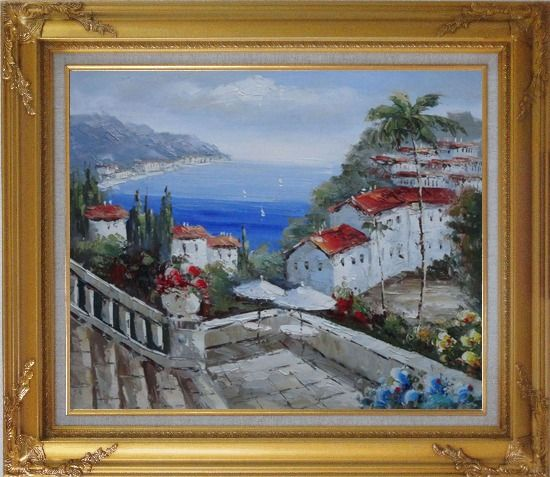 Framed Mediterranean Harbor Patio with Red Roof Houses Oil Painting Impressionism Gold Wood Frame with Deco Corners 27 x 31 Inches