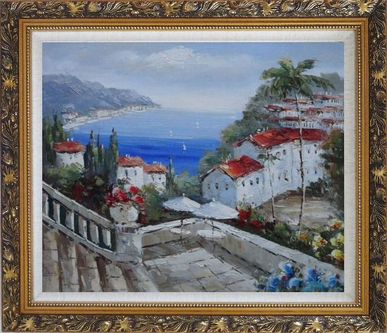 Framed Mediterranean Harbor Patio with Red Roof Houses Oil Painting Impressionism Ornate Antique Dark Gold Wood Frame 26 x 30 Inches