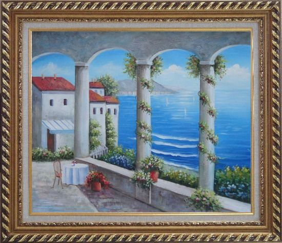 Framed Mediterranean Arch Retreat Oil Painting Naturalism Exquisite Gold Wood Frame 26 x 30 Inches