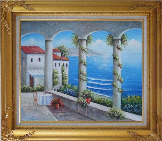 Framed Mediterranean Arch Retreat Oil Painting Naturalism Gold Wood Frame with Deco Corners 27 x 31 Inches