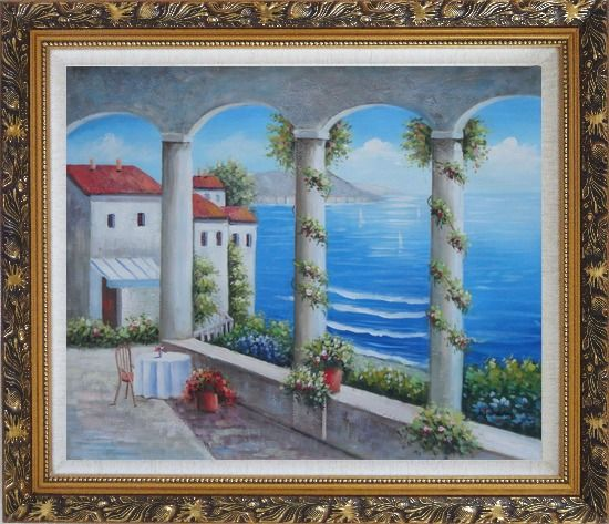 Framed Mediterranean Arch Retreat Oil Painting Naturalism Ornate Antique Dark Gold Wood Frame 26 x 30 Inches