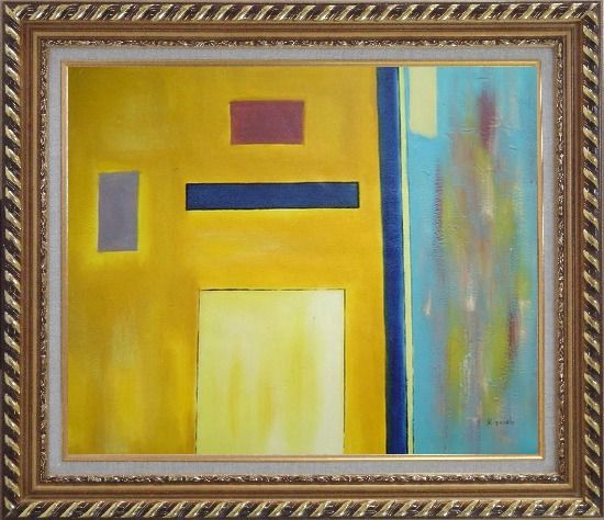 Framed Rectangles in Color Field Oil Painting Nonobjective Modern Exquisite Gold Wood Frame 26 x 30 Inches